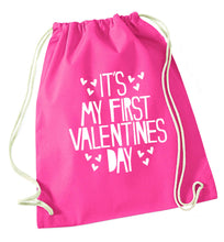 Hearts It's my First Valentine's Day pink drawstring bag