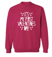 Hearts It's my First Valentine's Day adult's unisex pink sweater 2XL