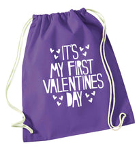 Hearts It's my First Valentine's Day purple drawstring bag