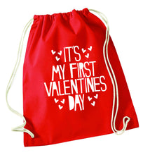 Hearts It's my First Valentine's Day red drawstring bag