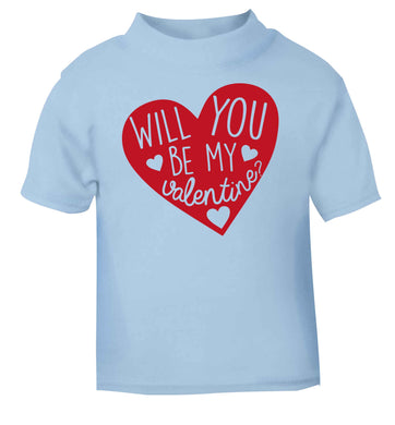 Will you be my valentine? light blue baby toddler Tshirt 2 Years