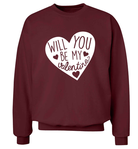 Will you be my valentine? adult's unisex maroon sweater 2XL