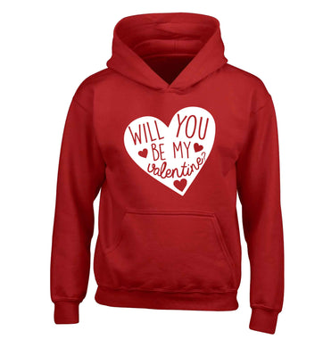 Will you be my valentine? children's red hoodie 12-13 Years