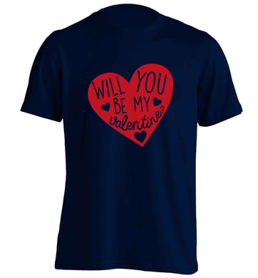 Will you be my valentine? adults unisex navy Tshirt 2XL