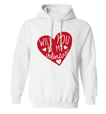 Will you be my valentine? adults unisex white hoodie 2XL