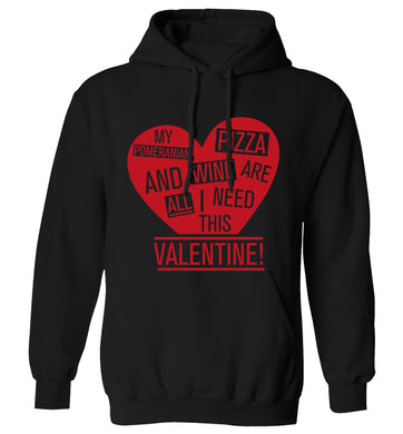 My pomeranian, chocolate and wine are all I need this valentine! adults unisex black hoodie 2XL