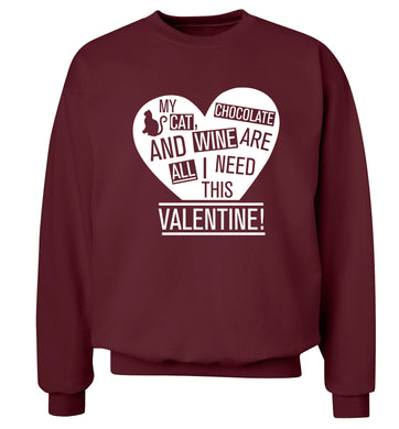 My cat, chocolate and wine are all I need this valentine! Adult's unisex maroon Sweater 2XL