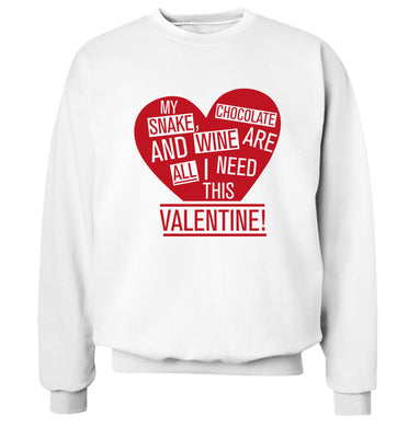 My snake, chocolate and wine are all I need this valentine! Adult's unisex white Sweater 2XL