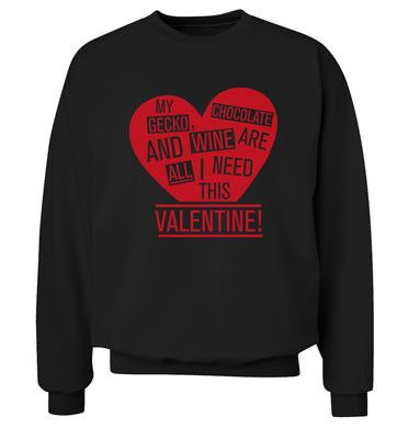 My gecko, chocolate and wine are all I need this valentine! Adult's unisex black Sweater 2XL