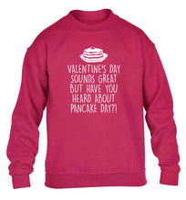 Valentine's day sounds great but have you heard about pancake day?! children's pink sweater 12-13 Years