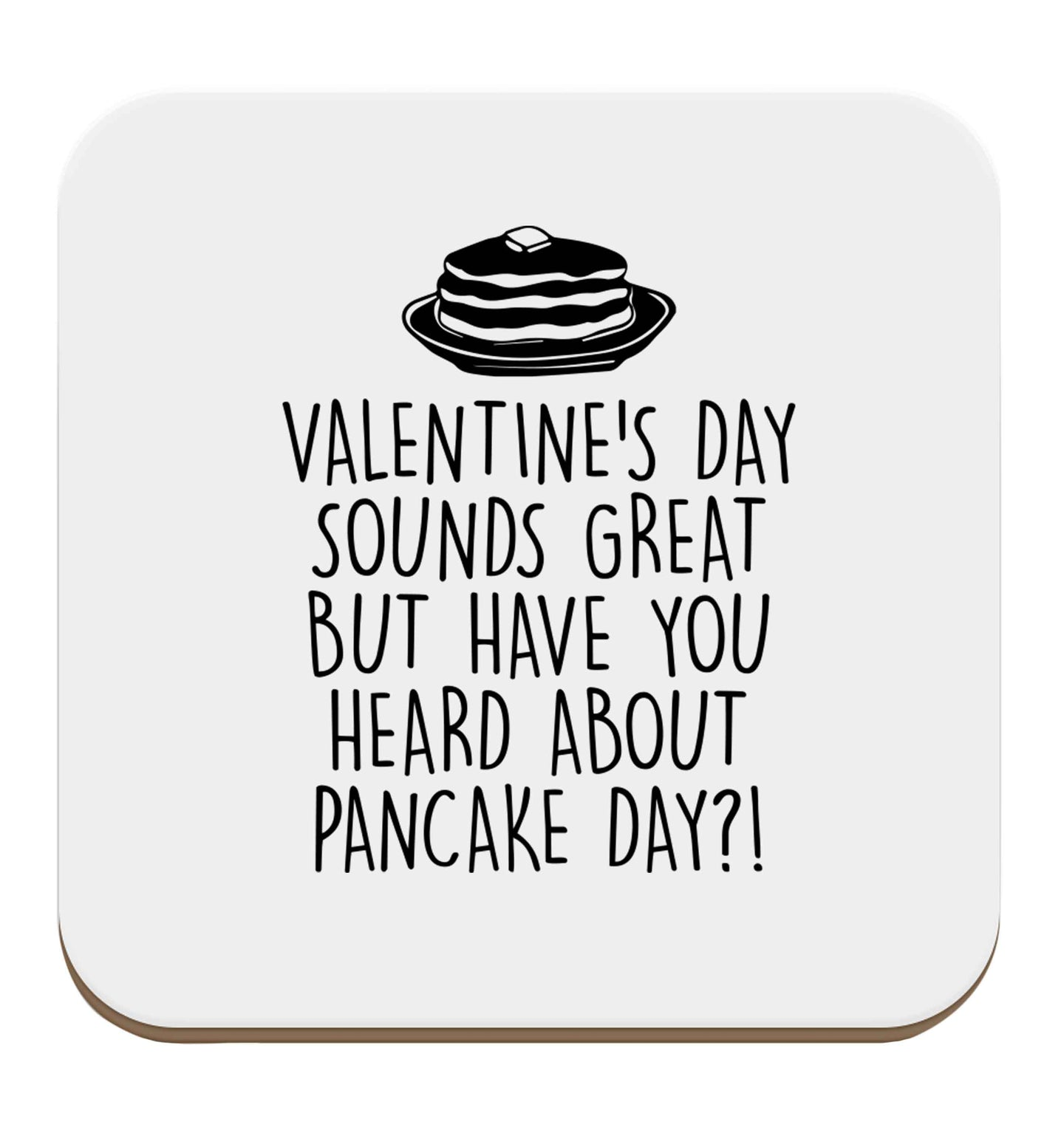 Valentine's day sounds great but have you heard about pancake day?! set of four coasters