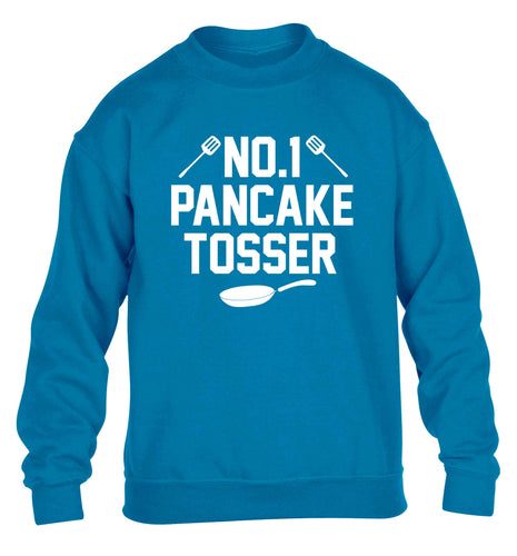 No.1 Pancake tosser children's blue sweater 12-13 Years
