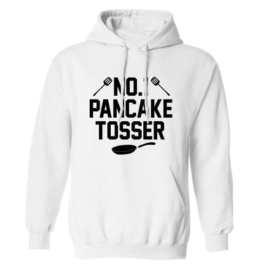 No.1 Pancake tosser adults unisex white hoodie 2XL
