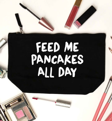 Feed me pancakes all day black makeup bag