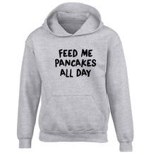 Feed me pancakes all day children's grey hoodie 12-13 Years