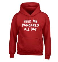 Feed me pancakes all day children's red hoodie 12-13 Years