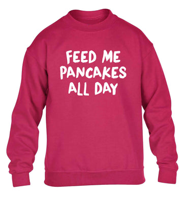 Feed me pancakes all day children's pink sweater 12-13 Years