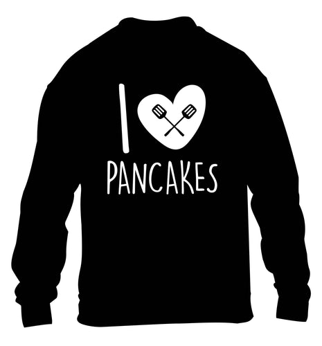 I love pancakes children's black sweater 12-13 Years
