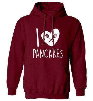 I love pancakes adults unisex maroon hoodie 2XL
