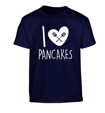 I love pancakes Children's navy Tshirt 12-13 Years