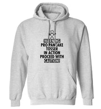 Warning pro pancake tosser in action proceed with caution adults unisex grey hoodie 2XL