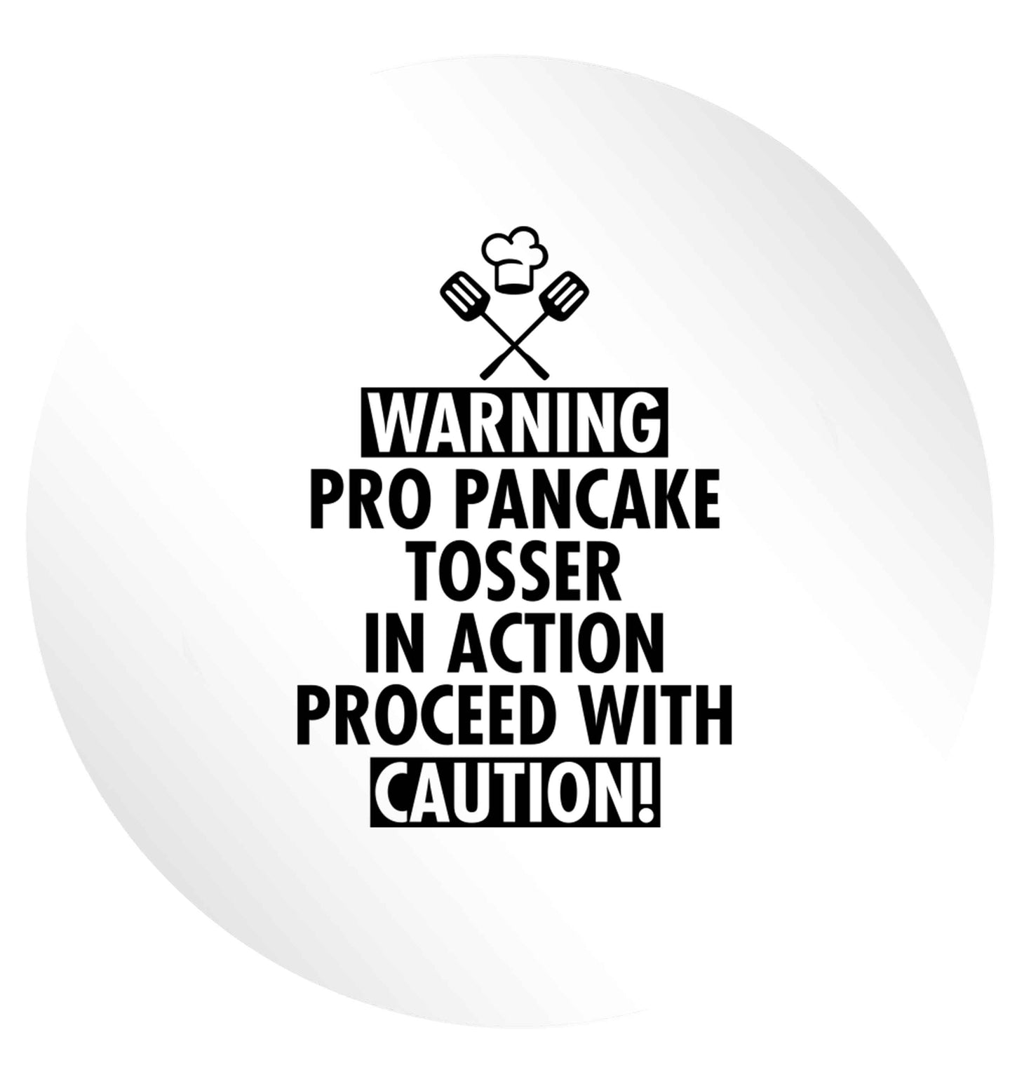 Warning pro pancake tosser in action proceed with caution 24 @ 45mm matt circle stickers