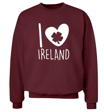 I love Ireland adult's unisex maroon sweater 2XL