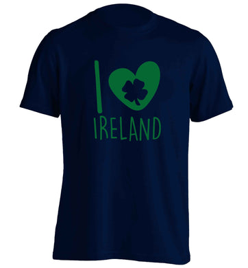 I love Ireland adults unisex navy Tshirt 2XL