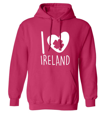 I love Ireland adults unisex pink hoodie 2XL