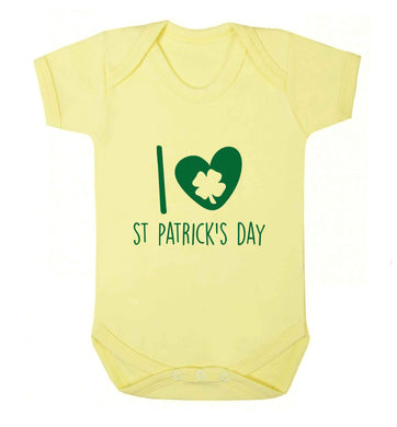 I love St.Patricks day baby vest pale yellow 18-24 months