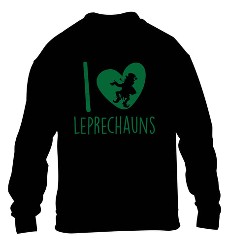 I love leprechauns children's black sweater 12-13 Years