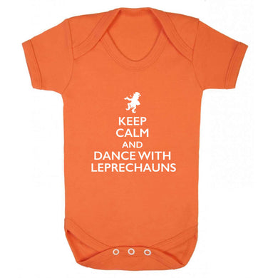 Keep calm and dance with leprechauns baby vest orange 18-24 months