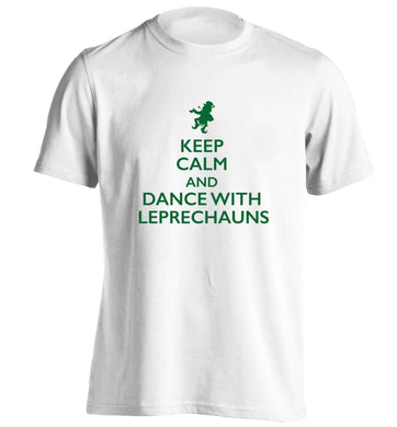 Keep calm and dance with leprechauns adults unisex white Tshirt 2XL
