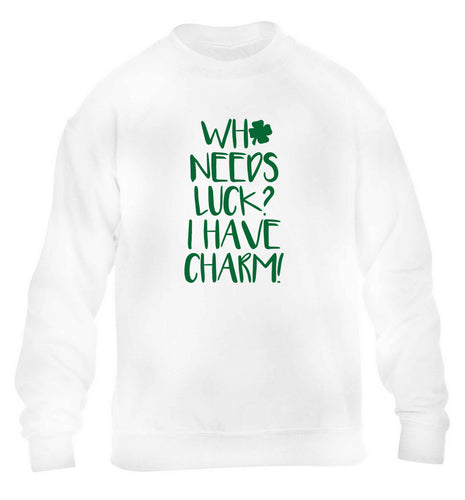 Who needs luck? I have charm! children's white sweater 12-13 Years