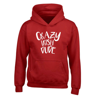 Crazy Irish dude children's red hoodie 12-13 Years