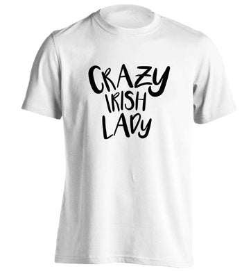 Crazy Irish lady adults unisex white Tshirt 2XL