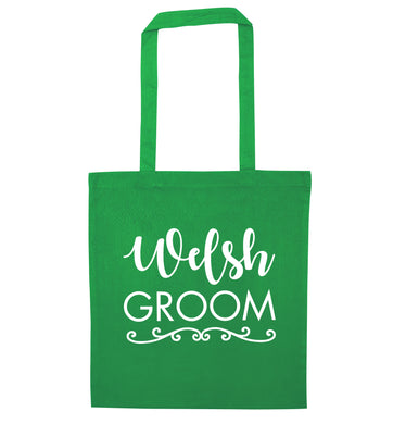 Welsh groom green tote bag