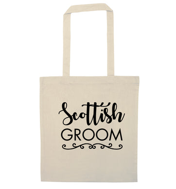 Scottish groom natural tote bag