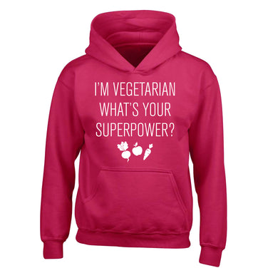 I'm vegetarian what's your superpower? children's pink hoodie 12-13 Years