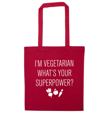 I'm vegetarian what's your superpower? red tote bag