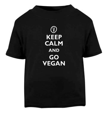Keep calm and go vegan Black Baby Toddler Tshirt 2 years