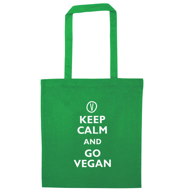 Keep calm and go vegan green tote bag