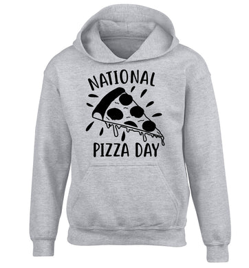 National pizza day children's grey hoodie 12-13 Years