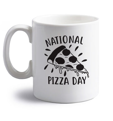 National pizza day right handed white ceramic mug