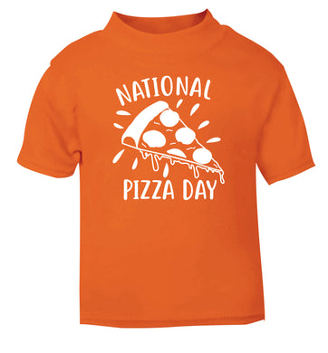 National pizza day orange Baby Toddler Tshirt 2 Years