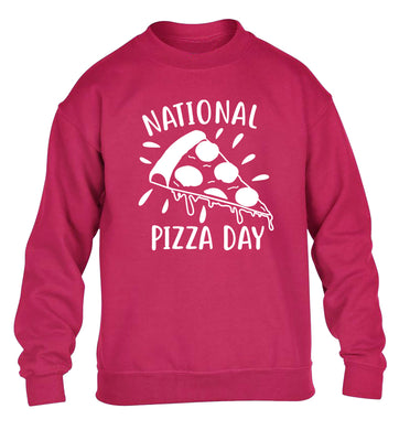 National pizza day children's pink sweater 12-13 Years