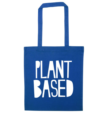 Plant Based blue tote bag
