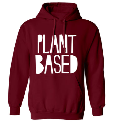 Plant Based adults unisex maroon hoodie 2XL
