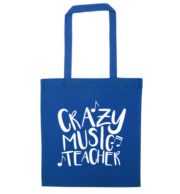 Crazy music teacher blue tote bag