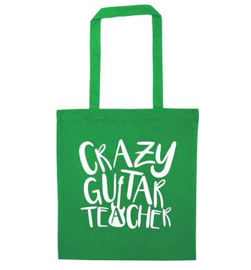 Crazy guitar teacher green tote bag